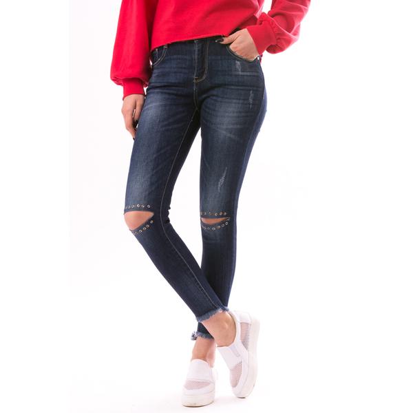 Jeans Dama CircleKnee Albastru Inchis