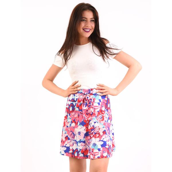 Fusta Cu Model Floral Spring Addiction Roz Si Albastru
