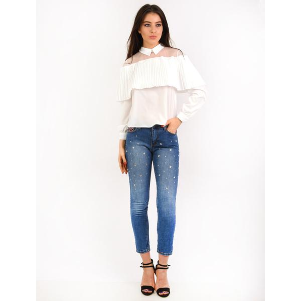 Jeans Dama Cu Strasuri Diamond Albastri