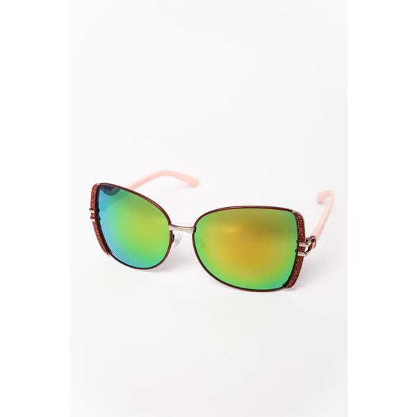 Ochelari De Soare Dama Cu Model Metalic Prayer Roz Si Verde