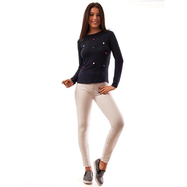 Pantaloni Dama Blug Stil Colant Relax Albi