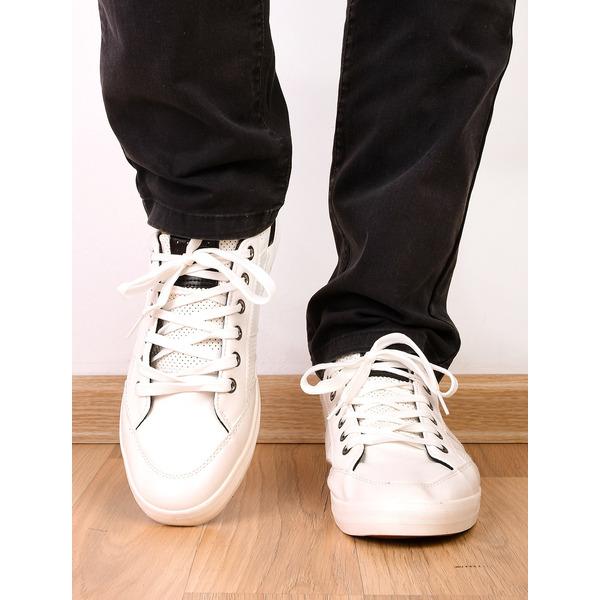 Pantofi Barbati Sport Cu Siret Si Cusaturi Decorative Relax Albi