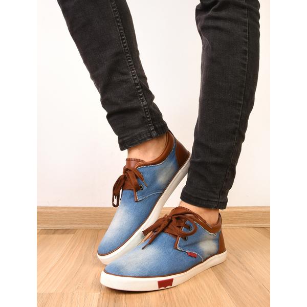 Pantofi Barbati Sport Denim Print Bleu Si Maro