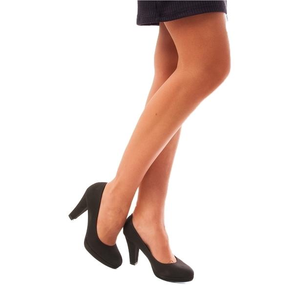 Pantofi Dama Cu Toc Si Platforma Gently Negri