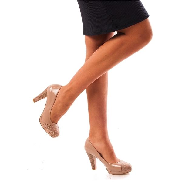 Pantofi Dama Lacuiti Cu Toc Glamour Day Bej