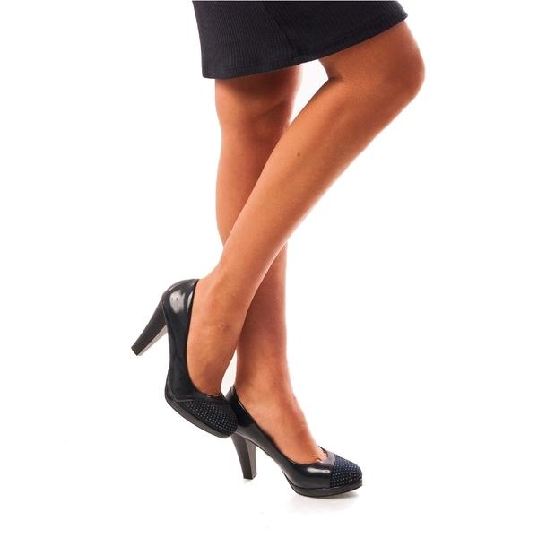 Pantofi Dama Lacuiti Cu Toc Glamour Day Bleumarin