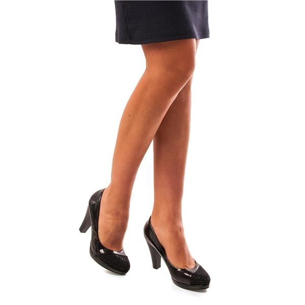 Pantofi Dama Lacuiti Cu Toc Glamour Day Negru
