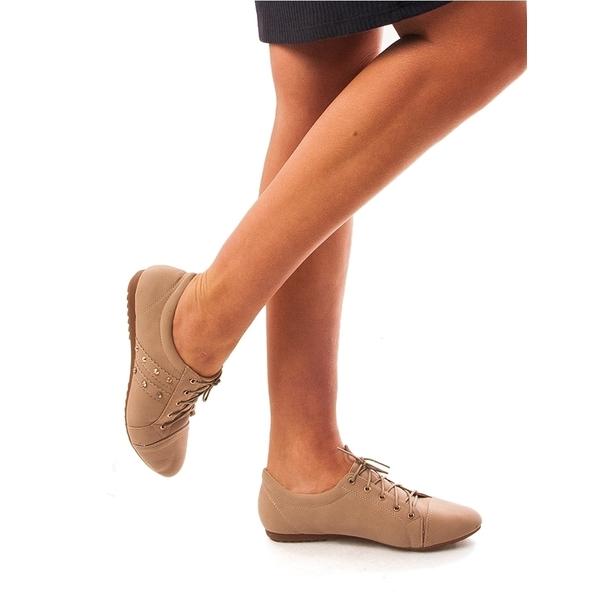 Pantofi Dama Cu Strasuri Si Siret Michelle Bej
