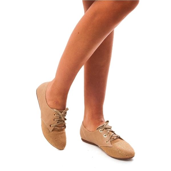 Pantofi Dama Cu Strasuri Si Siret Hurry Up Bej