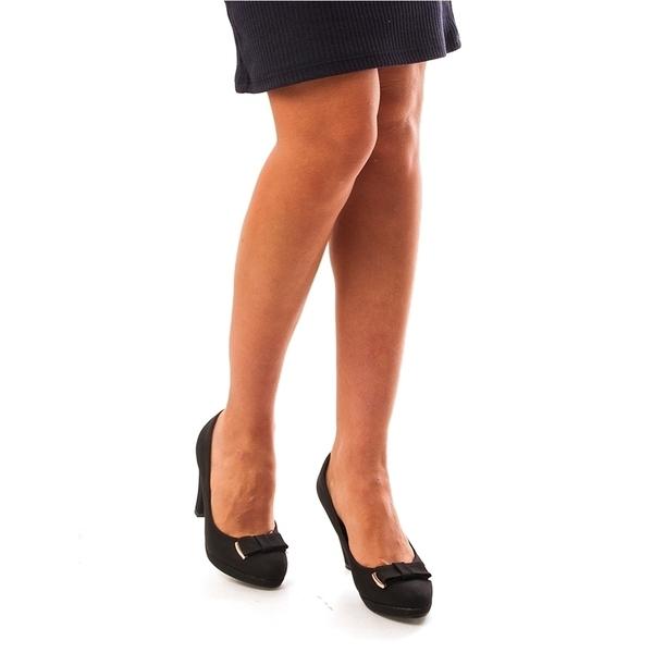 Pantofi Dama Cu Toc Si Fundita Ginger Negri