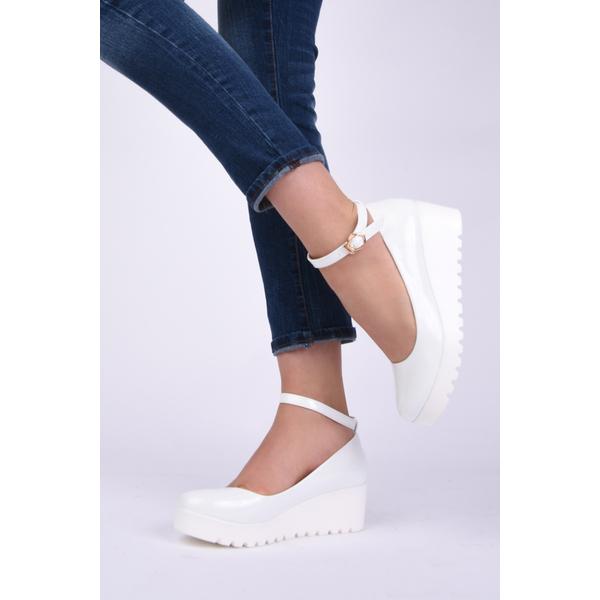 Pantofi Dama Cu Talpa Ortopedica Si Bareta Away Albi
