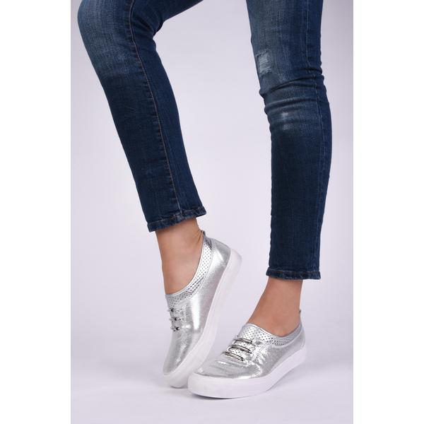Pantofi Dama Casual Din Material Stralucitor Loyal Argintii