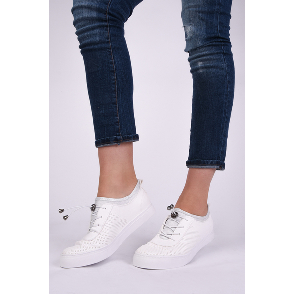 Pantofi Dama Sport Cu Siret Elastic Mysterious Albi
