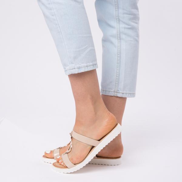 Papuci Dama Lacuiti Camelia Bej