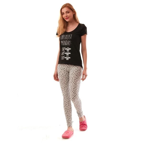 Pijama Dama Cu Imprimeu Monday Alb Si Negru