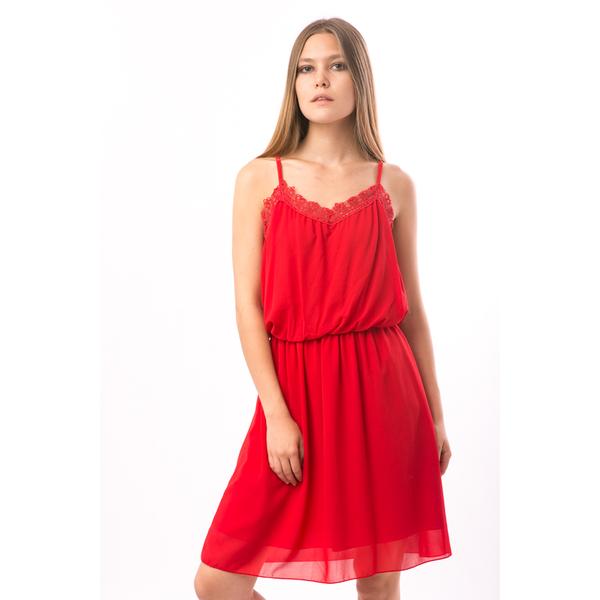 Rochie Dama Cu Dantela Capri Rosu