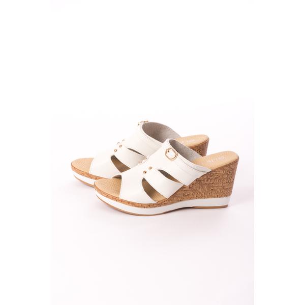 Sandale Dama Cu Platforma Rahela Albe