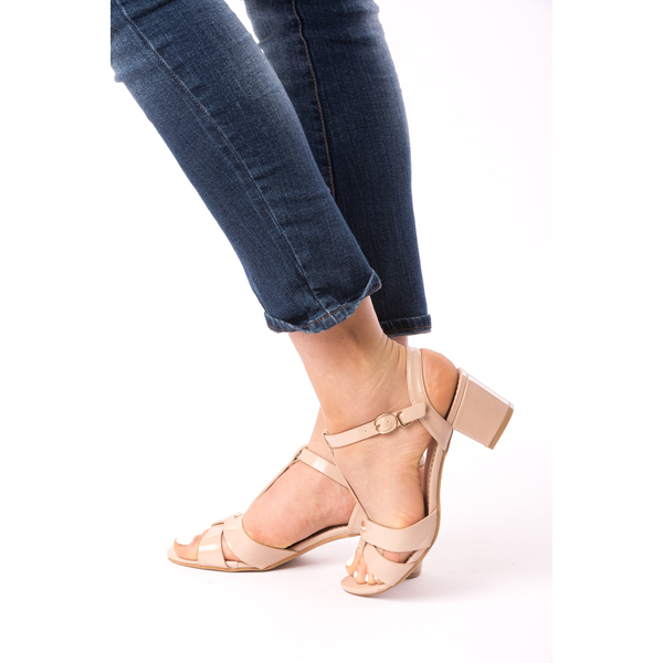 Sandale Dama Cu Toc Mic Julia Bej
