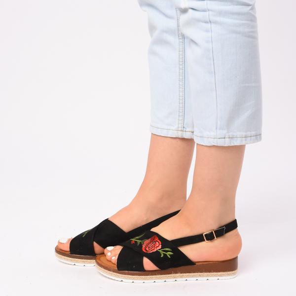Sandale Dama Cu Broderie Silvia Negre