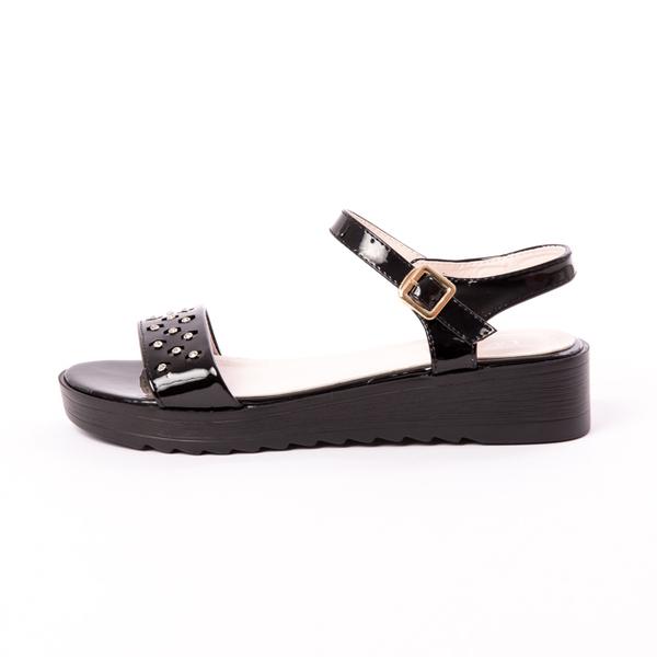 Sandale Dama Lacuite Cu Strasuri Negre