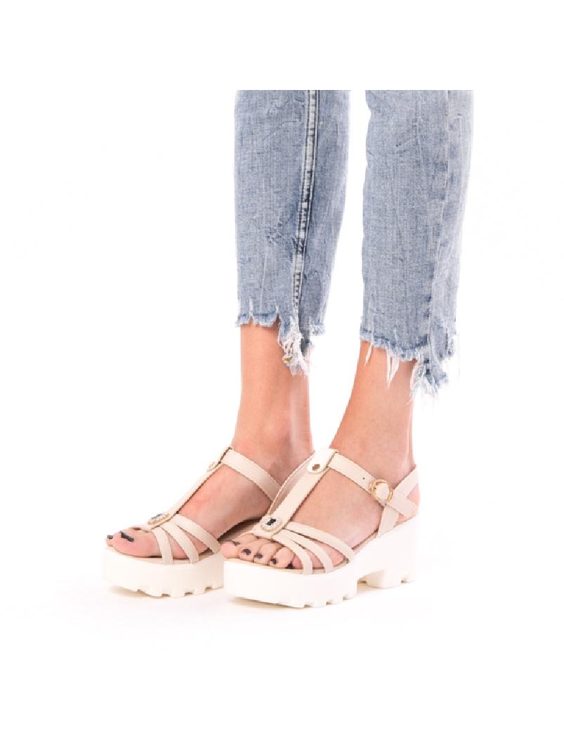Sandale Dama Cu Talpa Inalta Glow Bej