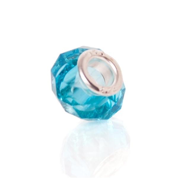 Talisman Bratara Sugar Murano Charm Light Blue