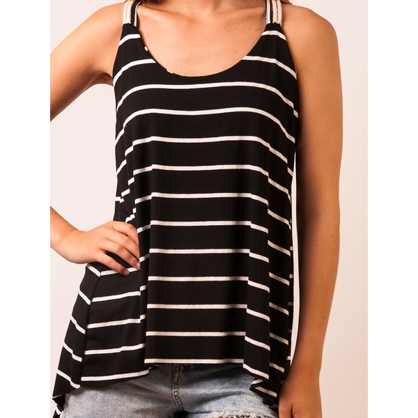 Top Dama Ralax Day Stripes Black