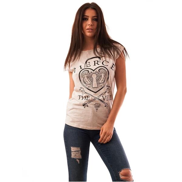 Tricou Dama Cu Imprimeu Inima Pierce Bej