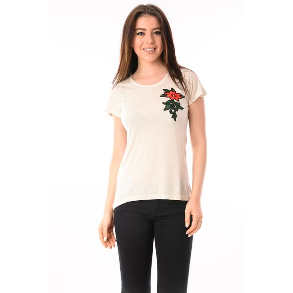 Tricou Dama Cu Broderie Floare News Gri Si Rosu