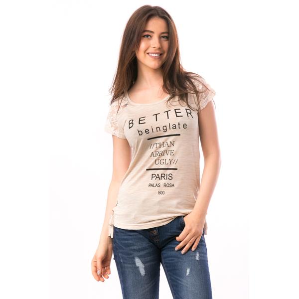 Tricou Dama Cu Dantela Si Imprimeu Better Beinglate Crem