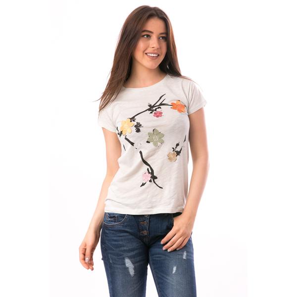 Tricou Dama Cu Broderie Florala ReachNature Gri