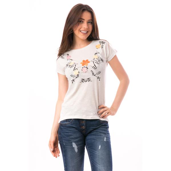Tricou Dama Cu Broderie Florala ComeNature Gri Deschis