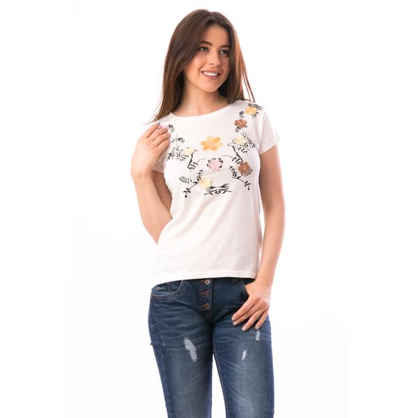 Tricou Dama Cu Broderie Florala ComeNature Crem