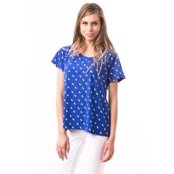 Tricou Dama Imprimeu Triunghiuri AngleSpeed Albastru