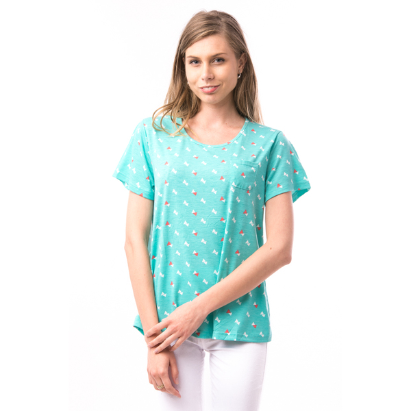 Tricou Dama Imprimeu Triunghiuri AngleSpeed Verde