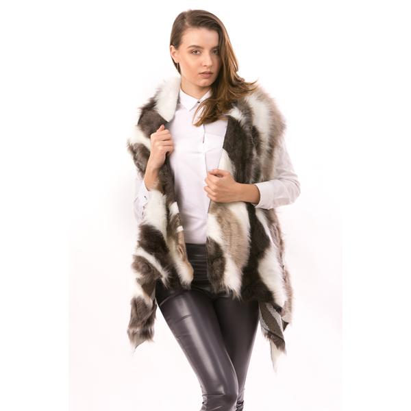 Vesta Dama FurryCat Alb, Bej Si Maro