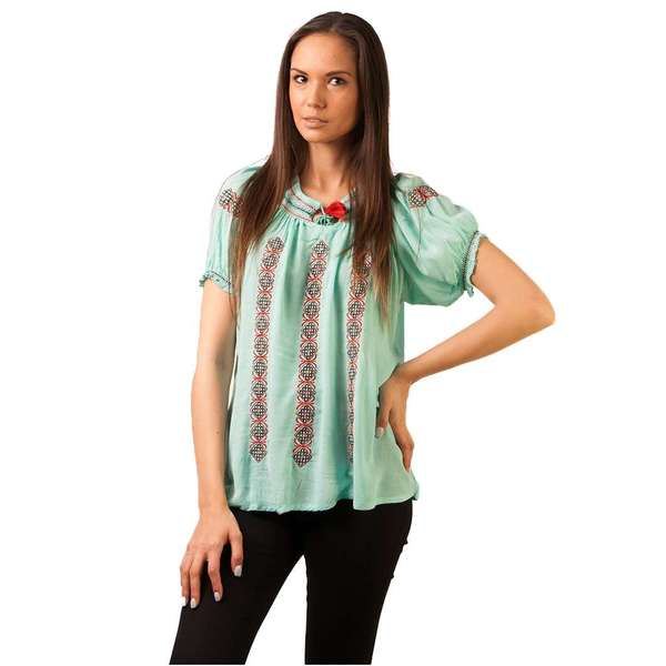 Bluza Panza Traditional Embroidery Mint Green&red