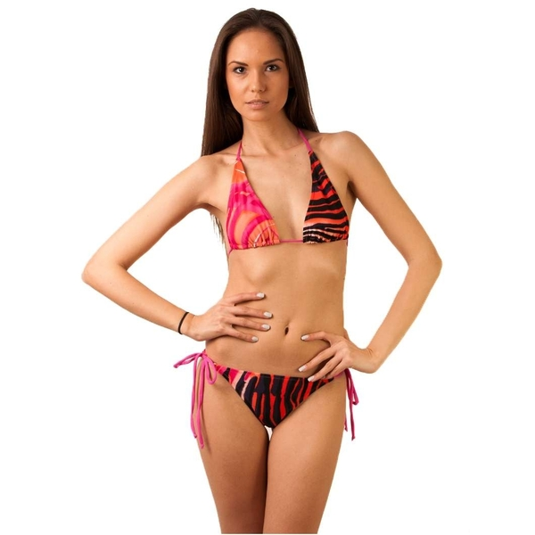 Costum De Baie Power Of Two Fuchsia  Black&orange