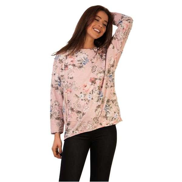Bluza Zipper Flowers Pink