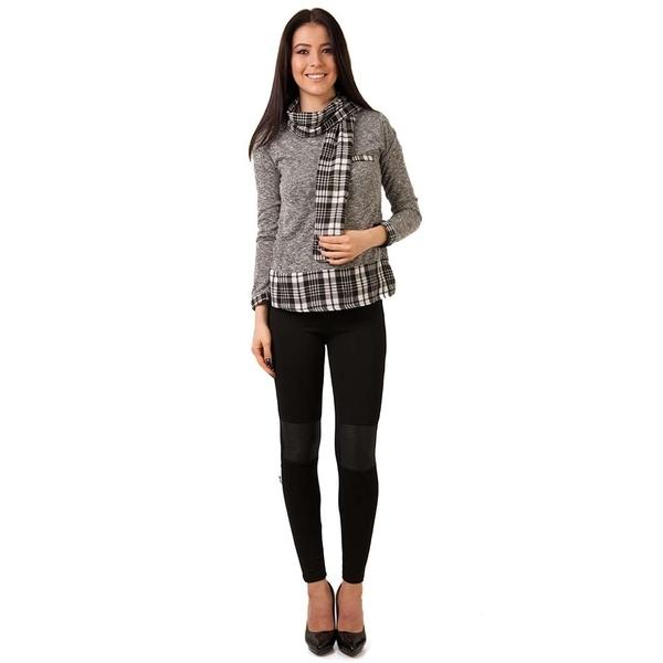 Pantaloni Dama Stil Colant Cu Piele Ecologica La G