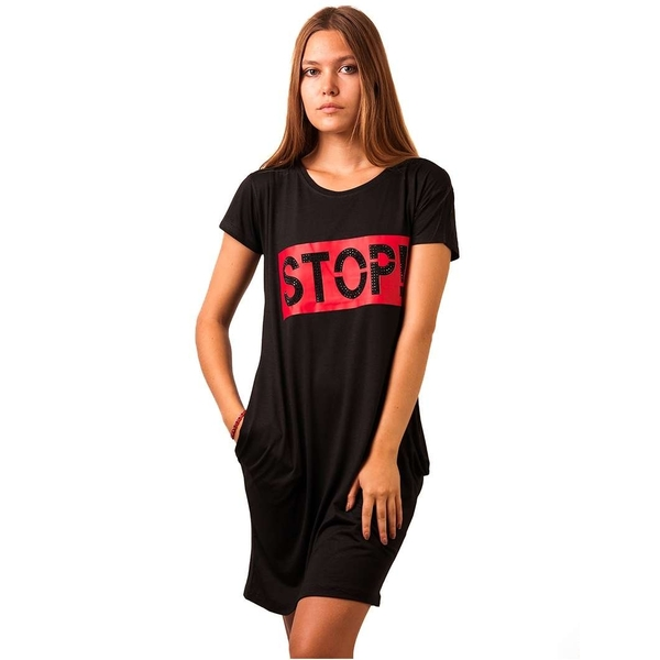 Rochie Dama Stop Sign Black