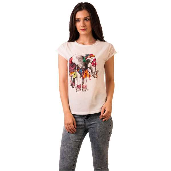 Tricou Cu Imprimeu Fresh June Elephant White