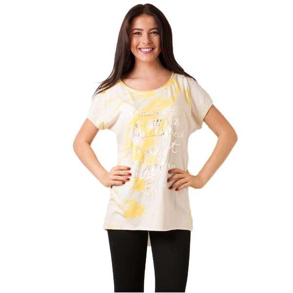Bluza Dama Cu Imprimeu Metalic Si Paiete Galbena