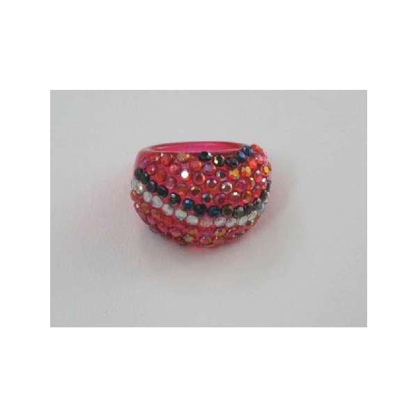 Inel Plastic încrustaţie De Imitaţie De Diamante Multicolore  Cu Diametru 1 7 Cm