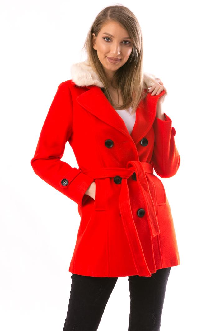 Palton Dama NiceToHave12 Rosu