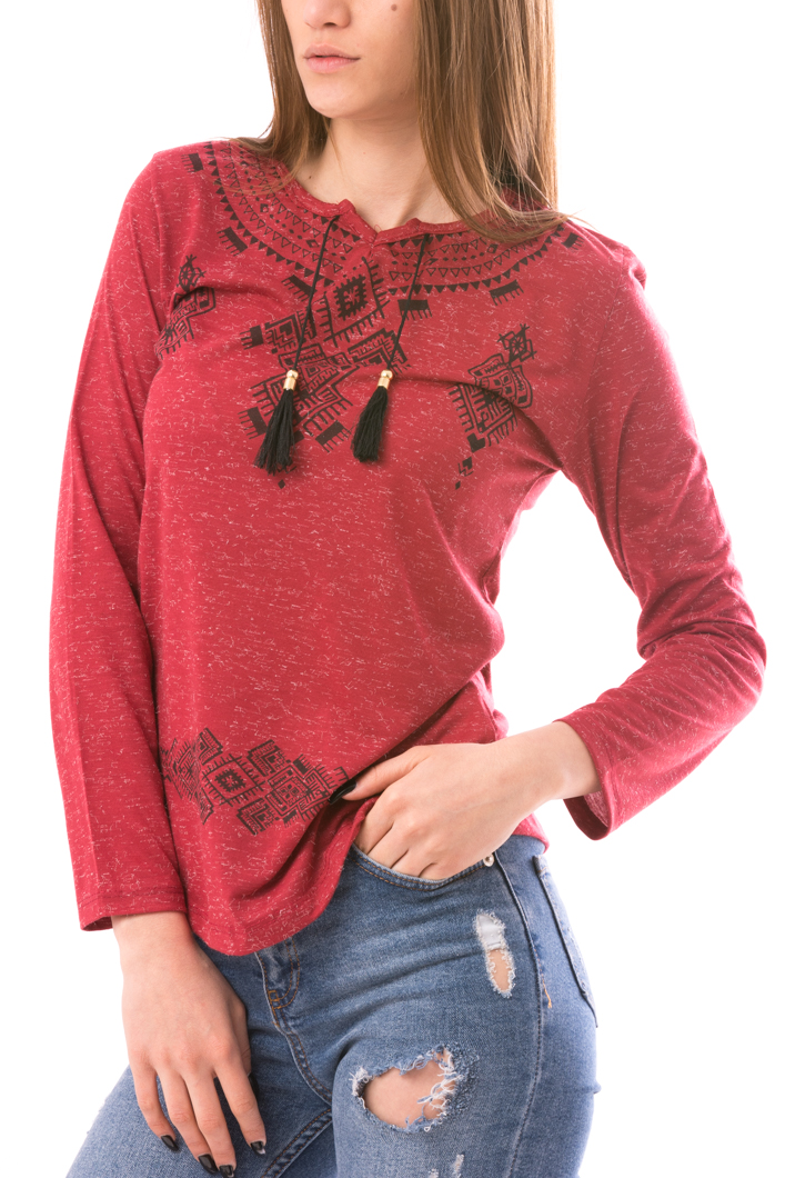 Bluza Dama TraditionalAztec Bordo Si Negru-2