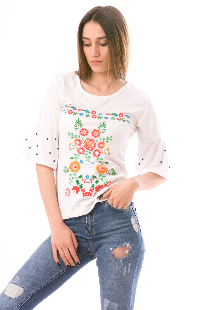 Bluza Dama ColoredFlower Alb Verde Si Mov