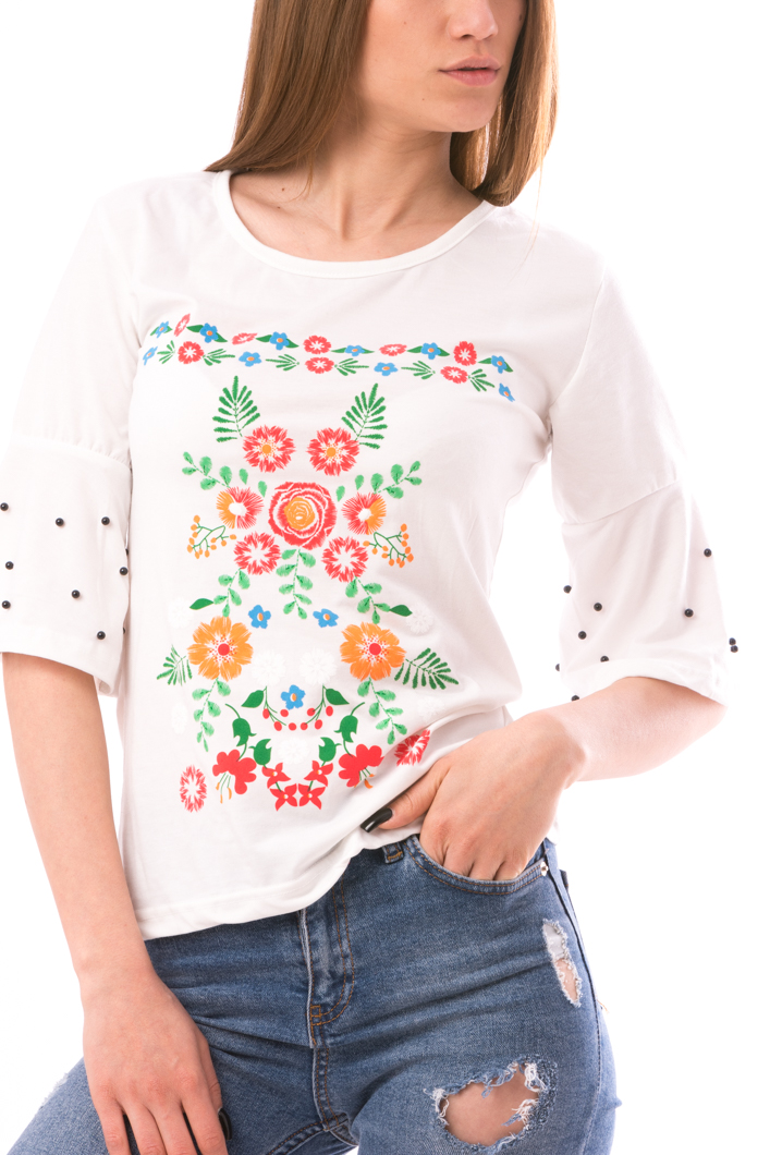 Bluza Dama ColoredFlower Alb Verde Si Mov-2