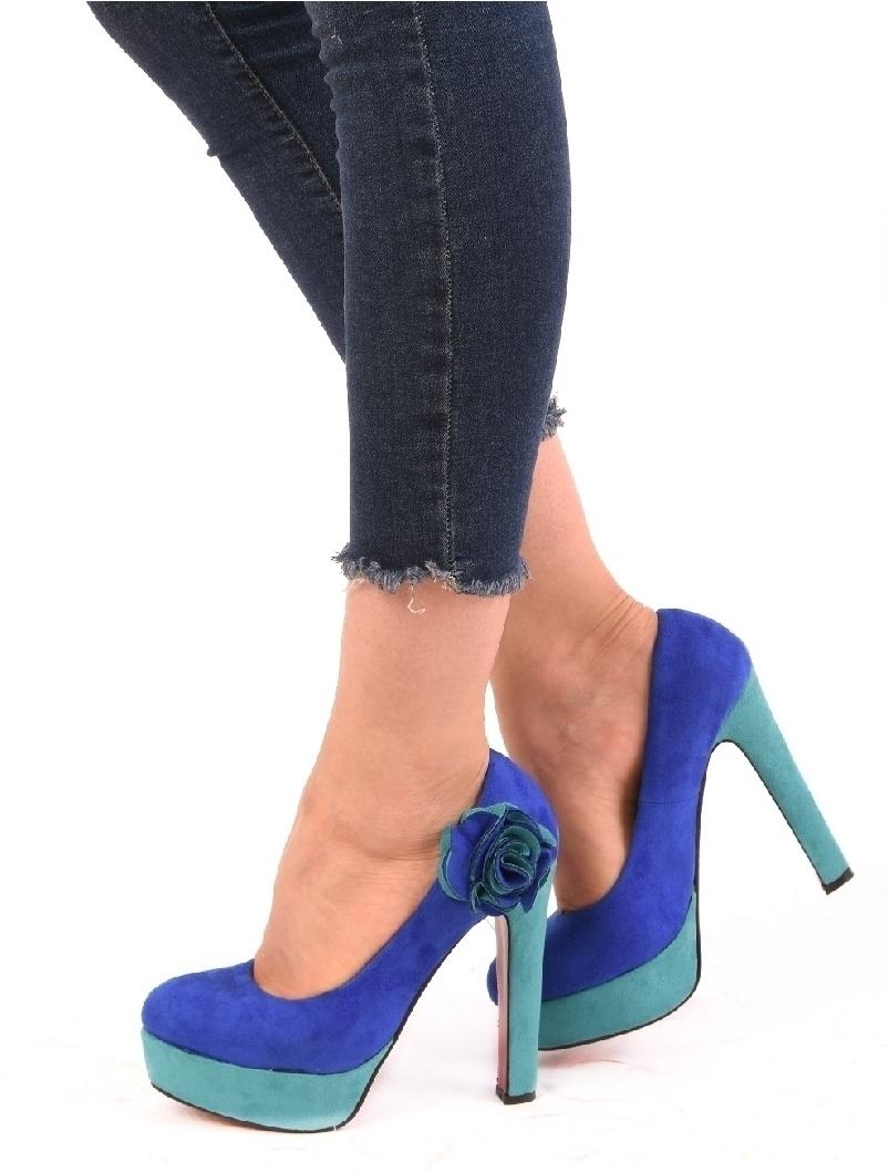 Pantofi Dama Cu Platforma Si floare Sunny Abastru Si Verde