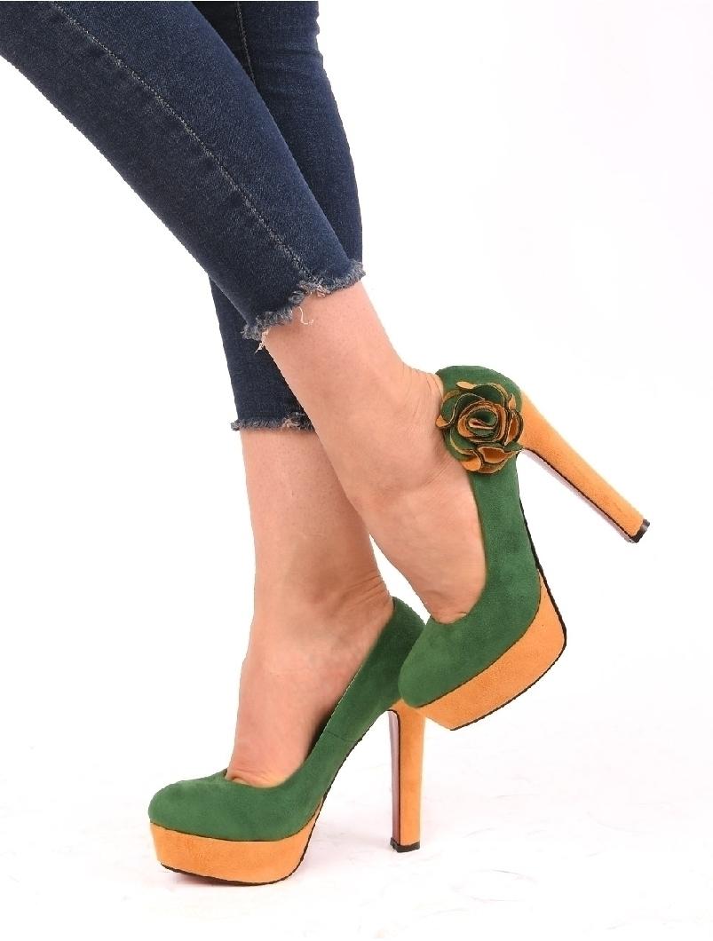 Pantofi Dama Cu Platforma Si floare Sunny Verde Si Galben